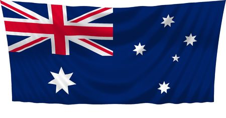 Illustration of flag of Australia waving in the wind (see more other flags in my collection) illustration