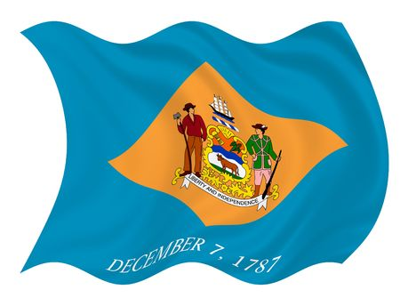 Illustration of Delaware state flag waving in the wind