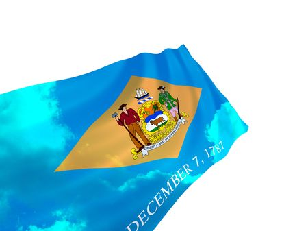 Illustration of Delaware state flag with sky, waving in the wind Stock Photo