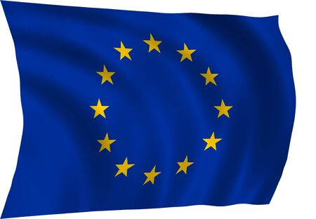 europeans: Illustration of European Union flag waving in the wind (see more other flags in my collection) Stock Photo