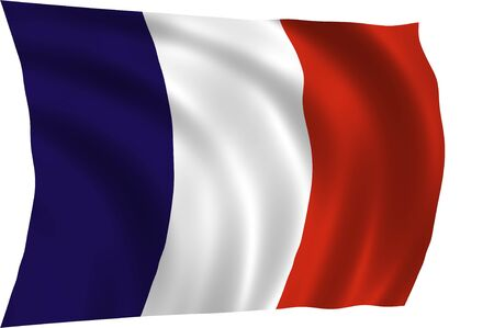 anthem: Official flag of France waving in the wind, illustration Stock Photo