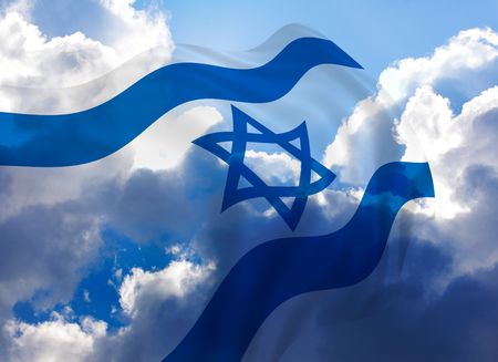 israeli: Illustration of Israel flag with sky, waving in the wind