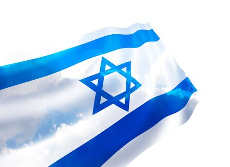 Illustration of Israel flag with sky, waving in the wind