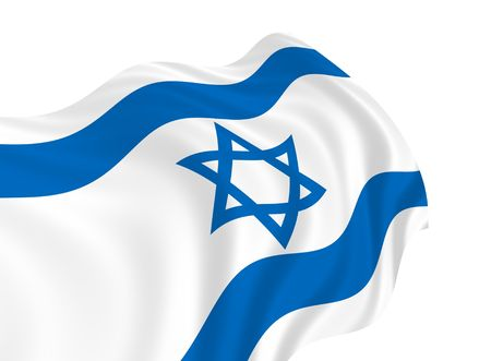 Illustration of Israel flag waving in the wind 版權商用圖片