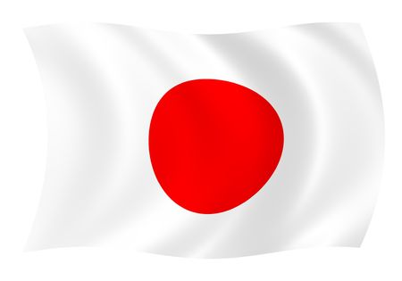 Illustration of Japanese flag waving in the wind Stock Photo