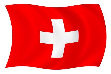 Illustratie van Zwitserland vlag wappert in de wind