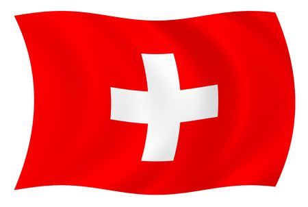 Illustration of Switzerland flag waving in the wind Stock Photo