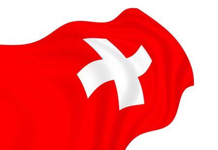 Illustration of Switzerland flag waving in the wind illustration
