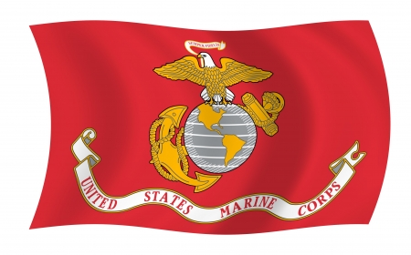 Illustration of United States Marine Corps  flag waving in the wind (see more other flags in my collection) Stock Photo