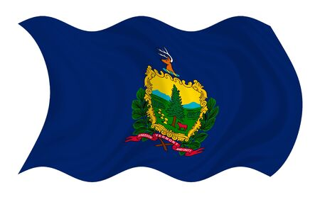 Illustration of Vermont state flag waving in the wind (see more other flags in my collection)