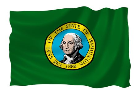 Illustration of Washington state flag waving in the wind (see more other flags in my collection) illustration