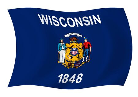 Illustration of Wisconsin state flag waving in the wind Stock Illustration - 6646784