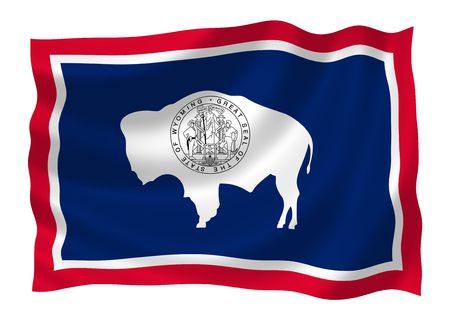 Afbeelding van Wyoming state vlag wappert in de wind (Zie meer andere vlaggen in mijn collectie)
