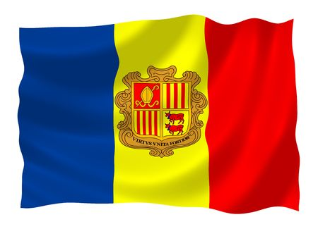ideograph: Flag of Andorra, waving in the wind Stock Photo