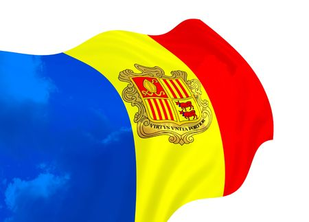 signifier: Flag of Andorra over the sky, waving in the wind Stock Photo