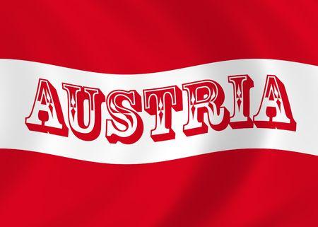 オーストリアの旗を風になびかせてのイラスト 写真素材