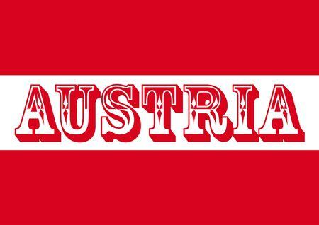単語「オーストリア」、図とオーストリアの旗 写真素材
