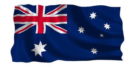 Illustratie van de vlag van Australië wappert in de wind (Zie meer andere vlaggen in mijn collectie)