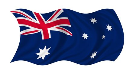 Illustration of flag of Australia waving in the wind (see more other flags in my collection)