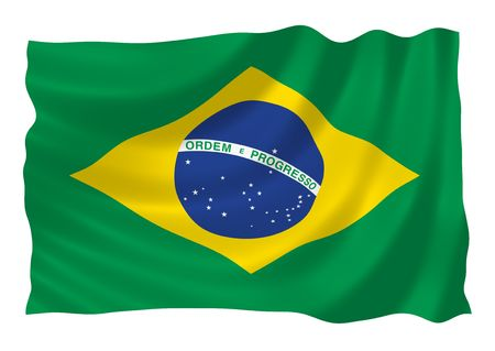 Illustration of Brazilian flag waving in the wind 版權商用圖片