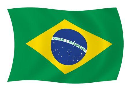 바람에 물결 치는 브라질 국기의 그림