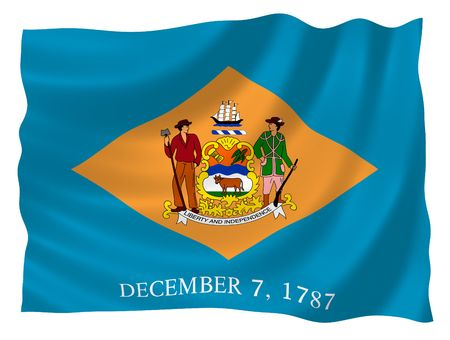 signifier: Illustration of Delaware state flag waving in the wind