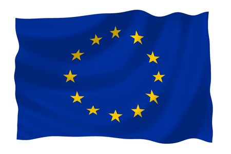 Illustration of European Union flag waving in the wind (see more other flags in my collection) illustration
