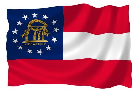 Illustration of Georgia state flag waving in the wind Stock Photo
