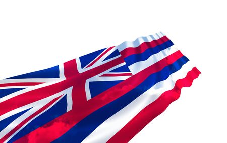 ideograph: Illustration of Hawaii state flag with sky waving in the wind