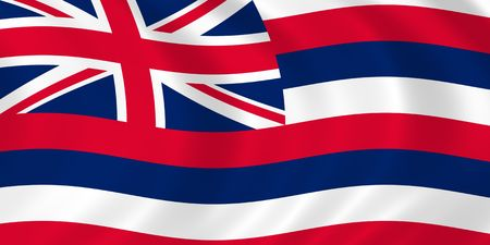 signifier: Illustration of Hawaii state flag waving in the wind