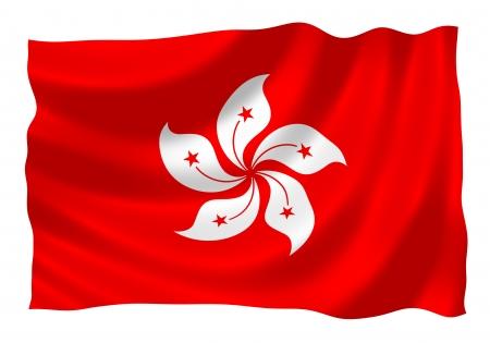 Vlag van Hongkong wappert in de wind