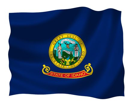 Illustration of Idaho state flag waving in the wind (see more other flags in my collection)