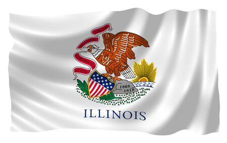 Illustration of Illinois state flag waving in the wind illustration