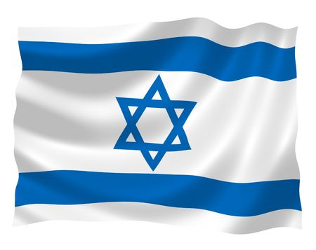 israeli: Illustration of Israel flag waving in the wind Stock Photo