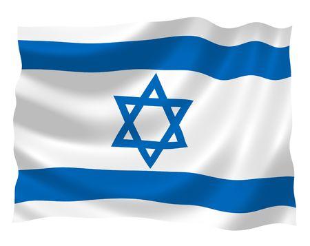 israeli: Ilustraci�n de Israel bandera ondeando en el viento