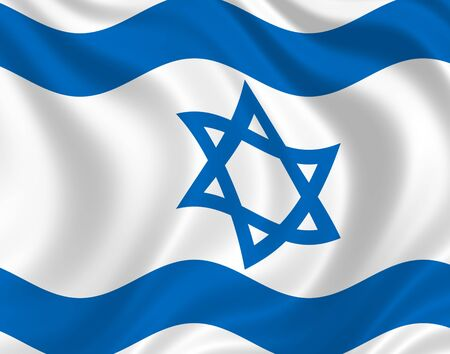 Illustration of Israel flag waving in the wind illustration