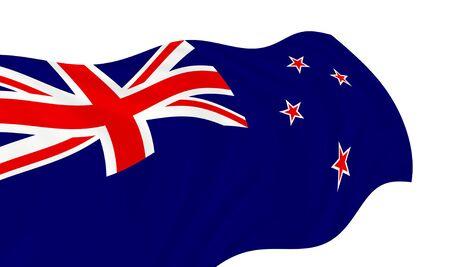 Illustration of New Zealand flag waving in the wind Banco de Imagens