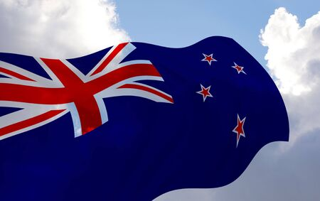 Illustration of New Zealand flag waving in the wind over the cloudy sky illustration
