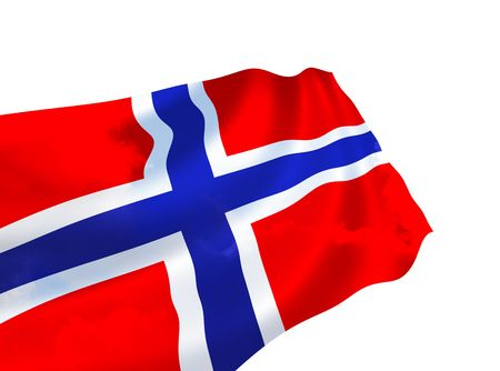 Illustration of Norway flag with sky, waving in the wind Stok Fotoğraf