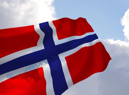Illustration of Norway flag waving in the wind over the cloudy sky