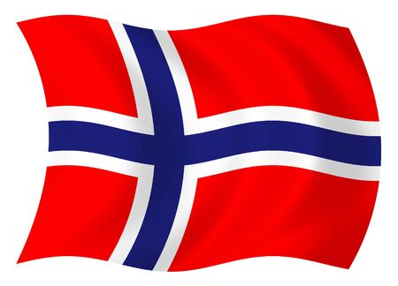 Illustration of Norway flag waving in the wind