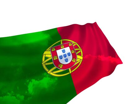 Flag of Portugal over the sky, waving in the wind photo