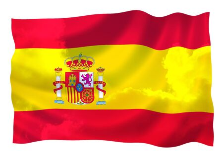 Flag of Spain over the sky, waving in the wind