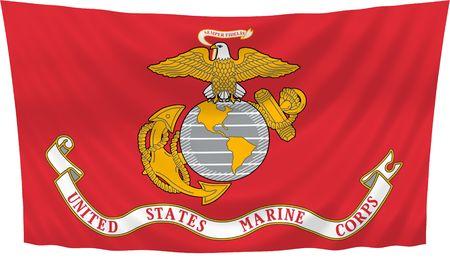 Illustratie van de United States Marine Corps vlag zwaaien in de wind (Zie meer andere vlaggen in mijn collectie)