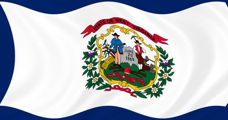 Illustration of West Virginia state flag waving in the wind Stock Photo