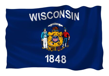 wisconsin state: Illustration of Wisconsin state flag waving in the wind  Stock Photo