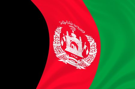 signifier: Illustration of Afganistan flag waving in the wind Stock Photo