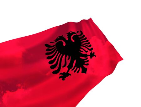 Flag of Albania over the sky, waving in the wind