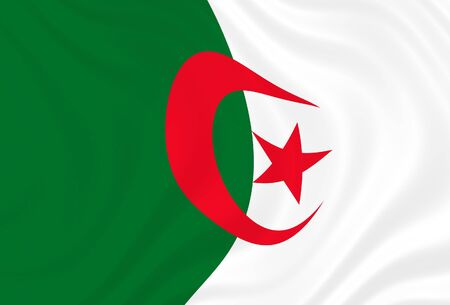 Flag of Algeria, waving in the wind Stock Photo