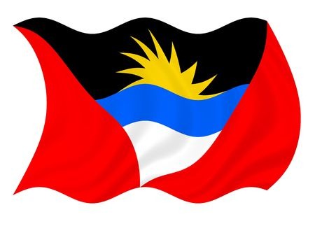 antigua barbuda: Flag of Antigua and Barbuda waving in the wind